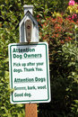 Dog Sign In Park, Woof Royalty Free Stock Image - 9548916