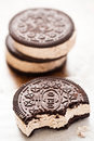 Ice Cream Sandwich Oreo - Chocolate Flavoured Sandwich Biscuits Filled With Vanilla Flavour Ice Cream With Crushed Biscuit Stock Image - 95406611