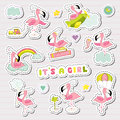 Baby Girl Stickers Set For Baby Shower Party Celebration. Decorative Elements For Newborn With Cute Flamingo Stock Photography - 95409272