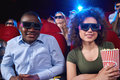 Young People Watching 3D Film At The Movie Theatre Royalty Free Stock Photo - 95425545