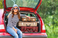 Girl Happy  Travel Suitcases Car Summer Landscape Stock Photos - 95436693