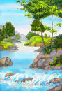 Tree By A Mountain Stream Stock Images - 95442234