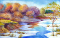 Stream In Forest Valley Winter Day. Watercolour Landscape Royalty Free Stock Photography - 95442507