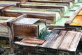 Yubatake Onsen, Hot Spring Wooden Boxes With Mineral Water Stock Images - 95479464