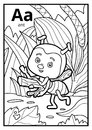 Coloring Book, Colorless Alphabet. Letter A, Ant Stock Photography - 95491262