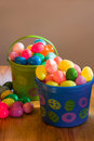 Easter Eggs In Basket Stock Images - 9553324