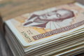 Stack Of Bosnian Hundred Convertible Mark Cash With Calculator Royalty Free Stock Image - 95502356