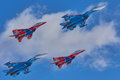 KUBINKA, MOSCOW REGION, RUSSIA Aerobatic Team `Swifts` And `Russian Knights` Aircraft SU-30 And MIG-29 Royalty Free Stock Photo - 95505305