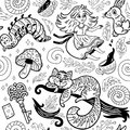 Fairytale Ink Background With Cartoon Characters From Alice In Wonderland Stock Photography - 95505642