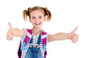 Portrait Of Smiling Happy School Girl Child With School Bag And Royalty Free Stock Images - 95508699