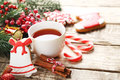Christmas Cookies With Cup Of Tea Stock Photo - 95526570
