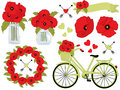 Vector Floral Set  With Poppies, Wreath, Mason Jar, Bicycle With Basket. Poppy Vector Illustration. Royalty Free Stock Photography - 95536917