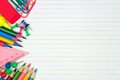 School Supplies Side Border On Lined Paper Background Royalty Free Stock Photo - 95537255