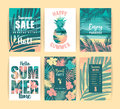 Set Of Summer Tropical Designs. Vector Templates. Royalty Free Stock Photo - 95550155