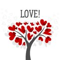 Love And Valentines Day Card With Love Tree And Red Heart Vector Background Poster Royalty Free Stock Images - 95564229
