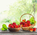 Strawberries In Baskets On Wooden Table Outdoor Royalty Free Stock Photos - 95570278