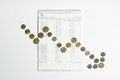 Coins Array To Show Graph Going Down On Bank Saving Account Book Royalty Free Stock Photography - 95573827