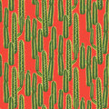 Cactus Plant Vector Seamless Pattern. Abstract Desert Nature Fabric Print. Stock Images - 95588834