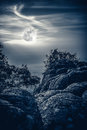 Landscape Of Night Sky With Full Moon,  Serenity Nature Backgrou Royalty Free Stock Photo - 95598735