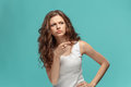 The Young Woman`s Portrait With Sad Emotions Royalty Free Stock Photo - 95608385