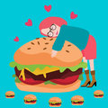 Love Burger Junknfood Lover Delicious Meat Tasty Royalty Free Stock Image - 95611636