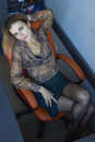 Girl Sitting On Chair In Office View From Above Royalty Free Stock Images - 95621729