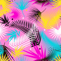 Beautiful Seamless Tropical Jungle Floral Pattern Background With Palm Leaves. Pop Art. Trendy Style. Bright Colors. Royalty Free Stock Photo - 95624245