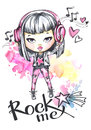 Watercolor Card Rock Girl With Headphones. Calligraphy Words Rock Me. Royalty Free Stock Photo - 95634665