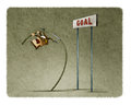 Businessman Doing Pole Vaulting For Jumping The Goal. Stock Image - 95644711