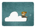Businessman Sits On A Cloud With Laptop On His Knees. Royalty Free Stock Image - 95644936