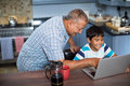 High Angle View Of Grandfather Assisting Grandson Using Laptop Royalty Free Stock Images - 95659399