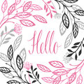 Abstract Floral Frame Gray And Pink Color Hello Calligraphy Lett Royalty Free Stock Images - 95666929