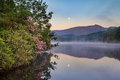 Moon And Mist Over Price Lake North Carolina Stock Image - 95687211
