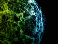 Network Connections Globe On Black Background Stock Image - 95689811