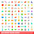 100 Sport Team Icons Set, Cartoon Style Royalty Free Stock Photography - 95690027