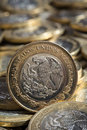 Mexican Pesos Currency On More Coins In Disorder, Vertical Stock Photography - 95690742