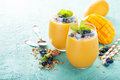 Mango Smoothie In Glasses Royalty Free Stock Photography - 95695107