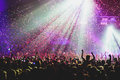 View Of Rock Concert Show In Big Concert Hall, With Crowd And Stage Lights, A Crowded Concert Hall With Scene Lights, Rock Show Pe Stock Photography - 95696662