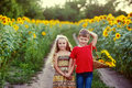 Children Walk Near A Field Of Sunflowers .The Concept Of Children& X27;s Friendship Stock Photo - 95706290