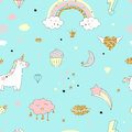 Magic Design Seamless Pattern With Unicorn, Rainbow, Hearts, Clouds  Stock Photos - 95711213