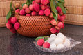 Fresh Juicy Lychee Fruit On A Glass Plate. Organic Leechee Sweet Fruit. Stock Images - 95726104