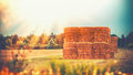 Rural Late Summer Country Landscape With Wheat Haystack Or Straw Bales On Field, Agriculture Farm Stock Images - 95760294