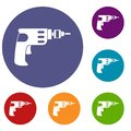 Hand Drill Icons Set Royalty Free Stock Images - 95791769