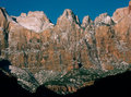 Towers Of The Virgin In Winter From Canyon Overlook Trail, Zion National Park, Utah Royalty Free Stock Images - 95794749
