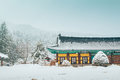 Beautiful Winter Landscape With Snow Covered Trees And Asian Temple Odaesan Woljeongsa In Korea Royalty Free Stock Photo - 95806735