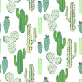Various Cacti Desert Vector Seamless Pattern. Abstract Thorny Plants Nature Fabric Print. Royalty Free Stock Photography - 95822047