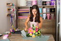 Pretty Woman In The Flower Shop Royalty Free Stock Photos - 95825278