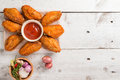 Plate Of Chicken Wings On Wood Royalty Free Stock Photo - 95825545