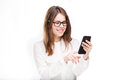 Portrait Happy, Smiling Woman Texting On Her Smart Phone, Isolated White Background. Communication Concept. Internet, Phone Addict Royalty Free Stock Photo - 95827395