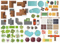 Set Landscape Elements, Top View.House, Garden, Tree, Lake,swimming Pools, Bench, Table. Landscaping Symbols Set Isolated On White Royalty Free Stock Images - 95830569